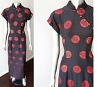 Mandarin Collar Vintage Silk Asian Traditional Tea Embroidered Red Black Dress M