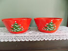 WAECHTERSBACH CHRISTMAS TREE SERVING BOWL Lot of 2 W GERMANY RED GREEN Pottery
