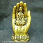 Chinese Old Traditional Culture Brass Bronze statue Hand Kwan-Yin Guanyin Buddha