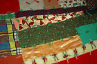 VINTAGE PATCHWORK QUILT HAND SEWN 1950s RETRO FABRIC PATTERNS w TATTING