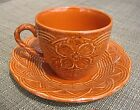 MIKASA FLOWER BASKET CUP & SAUCER TERRACOTTA EE905 EMBOSSED PATTERN MINT JAPAN