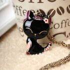 Retro Vintage Cute Black Kitty Cat Pendant Necklace Fashion Metal Alloy Casual