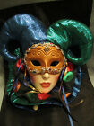 Fancy Jester Ceramic Wall Mask marked Clay Art USA-Musical Colorful