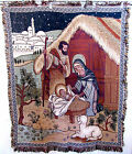 AMERICAN GREETINGS Tapestry Throw Afghan Christmas Nativity Scene 50x61 NEW
