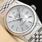 MEN ROLEX SILVER DIAL DATEJUST OYSTER PERPETUAL 18K WHITE GOLD/SS WATCH