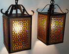 MID CENTURY CEILING LIGHT FIXTURE PAIR SPANISH MISSION MOD PENDANT VINTAGE 1960s