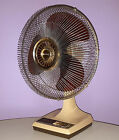 VINTAGE GALAXY FAN 16 INCH MODEL K1-CR TRANSPARENT AMBER BROWN BLADES 1982