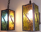 MID CENTURY EXTERIOR OUTDOOR LIGHT SET PENDANT  SCONCE VINTAGE COLORED GLASS