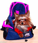 Size SMALL Denim Front Pouch Yorkie Chihuahua Pet Carrier PINK Straps
