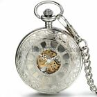 Portable Hand winding Mechanical Skeleton Roman Numberals Carved Pocket Watch