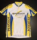 PEUGEOT CYCLING JERSEY SIZE 5 L 3 BACK POCKETS WHITE BLUE YELLOW