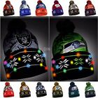 NFL/MLB Big Logo Light Up beanie Stocking Stretch Knit Hat-Pick your Team!