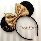 Minnie Mouse Ears Headband Shiny Black With Gold Bow Birthday Party Favors Cute