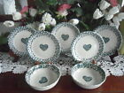 Tienshan Folk Craft HEARTS SALAD DESSERT PLATE AND BOWLS Blue Spongeware