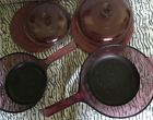 VISION CORNING WARE CRANBERRY COOKWARE GLASS Pots With Lids And Covers