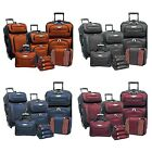 Amsterdam 8 Piece Light Expandable Rolling Luggage Suitcase Tote Bag Travel Set