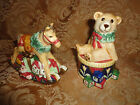 FITZ AND FLOYD OLD FASHIONED XMAS SALT & PEPPER TEDDY ON DRUM & ROCKING HORSE