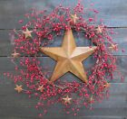 Primitive Front Door Wreath Rusty Star Red Pip Berry Berries Mini Stars Rust 18
