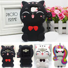 Cute 3D Cartoon Lucky Cat Soft Silicone Animal Case Cover For Samsung S8 S7 Edge