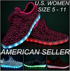 Womans Girls LED Light Up USB Charger Luminous Shoes Sneakers Lace Up Athletic