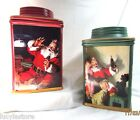 2 COCA-COLA SANTA Christmas COOKIE JAR STONEWARE CANISTER SAKURA 2002 Red Green