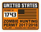 United States Zombie Hunting Permit Decal  USA Sticker Apocalypse 2017 18
