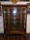 Late 1800s, Early 1900s Tiger Wood China Cabinet