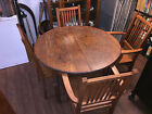 Late 1800s, Early 1900s Tiger Wood Adjustable Dining Table with 4 Chairs