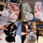 3D Cute Metal Disney Mickey Mouse Soft Fuzzy Plush Ball Phone Case Cover