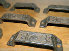 Lot/10 ~Ornate Cast Iron Industrial Tool Seed Index File Bin Pull or Handles