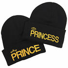 Prince Princess Pair Embroidered Beanie Set - His & Hers Couple Fashion Hats