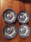 4 Churchill English China English Scene Blue Coupe Cereal Bowl 6 1/8