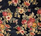 April Cornell Tablecloth Hibicus Roses Floral Garden Black Fringe 52 x 52 Square