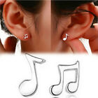 1x Cute Tiny Women silver plated Musical Note Ear Stud Earrings Gift Funny
