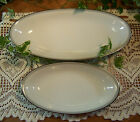 2- NORITAKE GRAYTONE OVAL DISHES Serving Gratin Silver Trim *LOVELY CONDITION*
