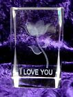 I LOVE YOU  ROSE 3D Laser Etched Crystal Clear Glass Cube Paperweight