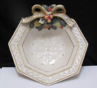 Fitz and Floyd SNOWY WOODS Christmas Octagonal Serving Bowl $64.50 NEW w Tag