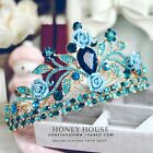 2017 New Stunning Vintage Pageant Blue Crystal Bead Crown Wedding Bridal Tiara