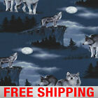 Fleece Fabric Wolf Wolves 60 Wide Free Shipping Style AA 27914
