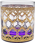 Culver Set of 4 22K Gold Old Fashioned Glasses in Assorted Colors (Valencia Patt