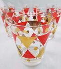 Vintage 50s 60s Gay Fad Heavyweight Glasses Mid Century Modern Set of 8 Diamonds