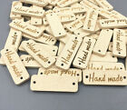 100pcs Wood color Wooden Hand made Lettering 2 hole sewing Scrapbooking 30mm