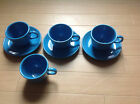 4 Vintage Cups & 3 Saucers Fiesta Ware Ret.Peacock Blue Homer Laughlin China Co.