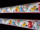 Vintage 1930s Fiesta Cheerful Wallpaper Border Plates Pitchers Flowers Colorful
