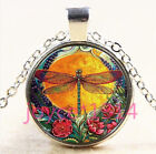 Vintage Dragonfly Cabochon Tibetan silver Glass Chain Pendant Necklace 4497