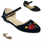 New Women Ballet Flats Ankle Strap Floral Embroidered Mary Jane Shoes