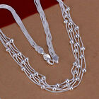 NEW Free Shipping 925 Sterling Silver Chic Multiple Lines Beads Neckklace N213