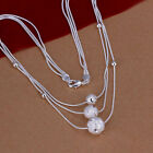 NEW Free Shipping 925 Sterling Silver 3 Links 3 Beads Neckklace N220