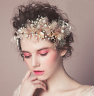 Wedding Bridal Vintage Leaf Crystal Gold Tiara Pearl Headpiece Hair Piece