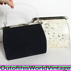 Vtg 50s PURSE bag handbag DAY NIGHT black clutch SILVER GLITTER SPARKLY LUCITE